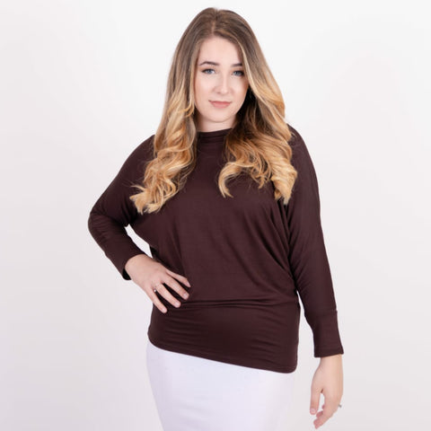 Dolman Top: Dark Chocolate - The Mimi Boutique