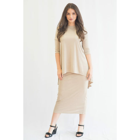 High Low Ribbed Top: Sand