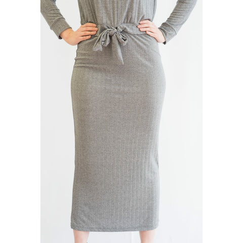 Ribbed Tube Skirt: Light Grey - The Mimi Boutique