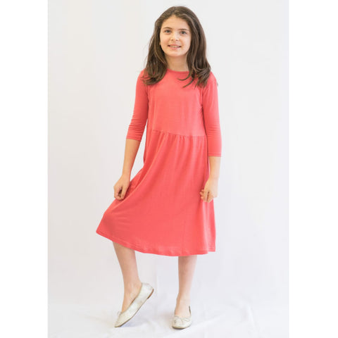 Coral Dot Dress: Teen - The Mimi Boutique