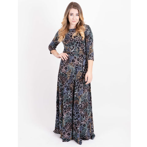 Rainbow Floral Black Maxi - The Mimi Boutique
