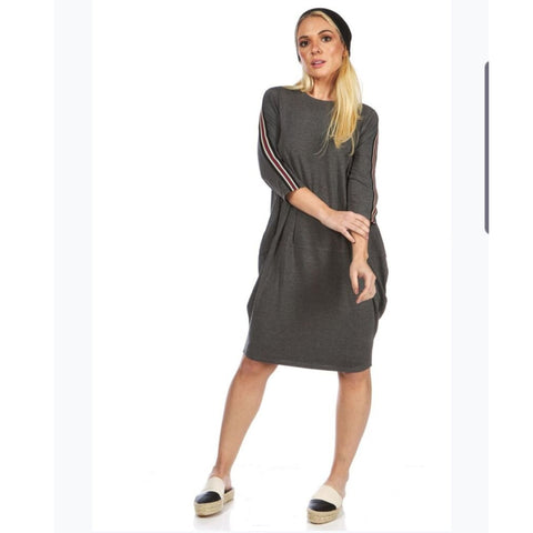 Mia Cocoon Dress: Grey - The Mimi Boutique