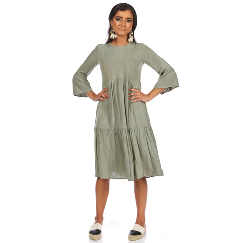 Tiered Dress: Olive