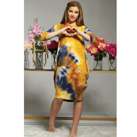 Talia Tye Dye Cocoon Dress: Navy/Gold (Teen) - The Mimi Boutique