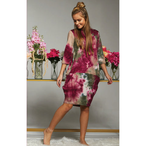 Talia Tye Dye Cocoon Dress: Raspberry/Olive (Teen) - The Mimi Boutique