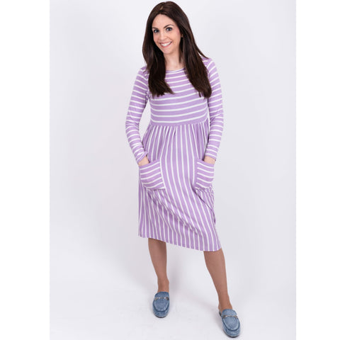 Striped Pocket Dress: Lavendar