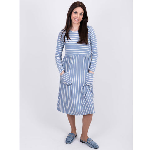 Striped Pocket Dress: Blue