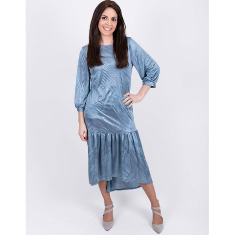 Lexi High Low Ruffle Silk Dress: Blue - The Mimi Boutique