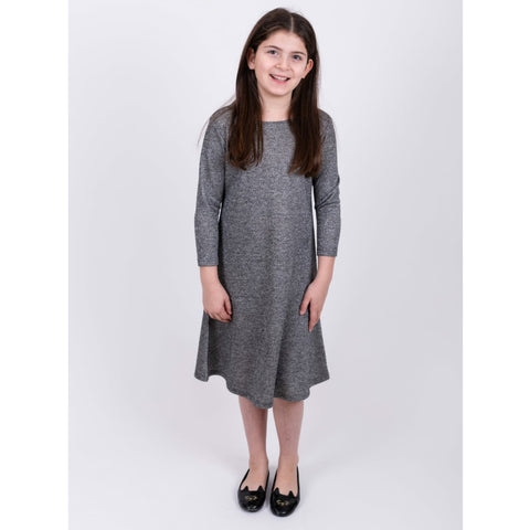 Silver Knit Dress: Teen - The Mimi Boutique