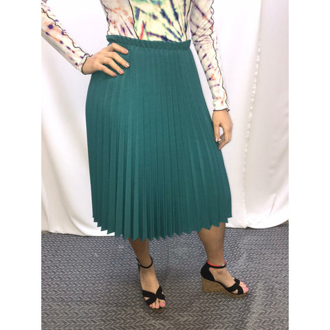 Pleated High Top Skirt: Teal - The Mimi Boutique