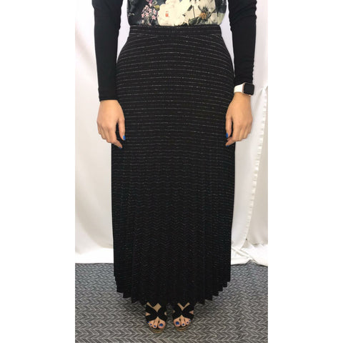 Shimmer Stripe Pleated Maxi Skirt: Black - The Mimi Boutique