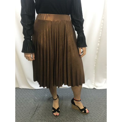 Metallic Pleated Skirt: Golden Bronze - The Mimi Boutique