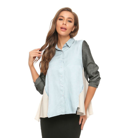 Colorblock Button Blouse - The Mimi Boutique