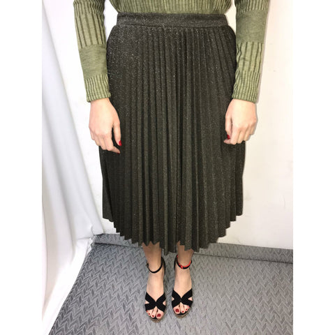 Shimmer Pleated Skirt: Green - The Mimi Boutique