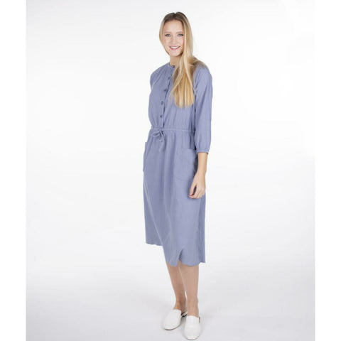 Drawstring Pocket Dress: Blue - The Mimi Boutique