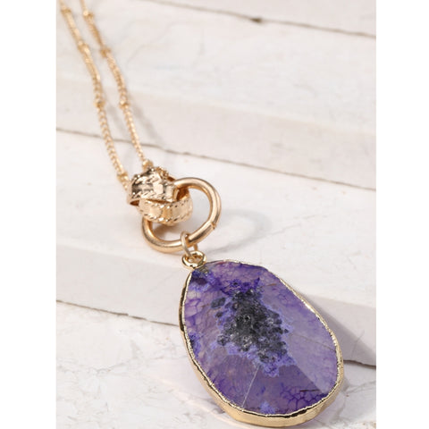 Purple Stone Teardrop Necklace