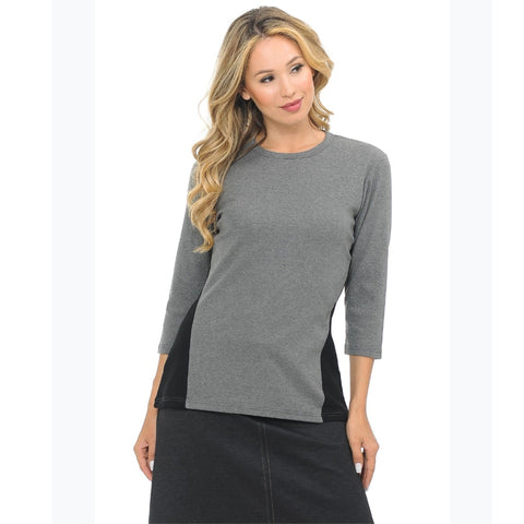 Two Toned Top by Ivee: Grey/Black - The Mimi Boutique