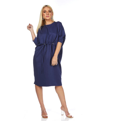 Emily Dolman Sleeve Dress: Indigo Blue - The Mimi Boutique