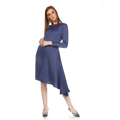 Eva ll Assymetrical Satin Dress: Slate Blue
