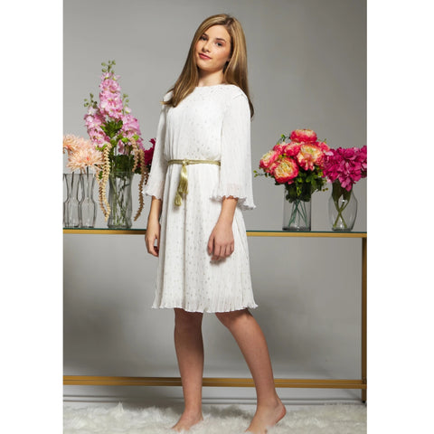 Sienna Flutter Pleate Dress: Ivory (Teen)