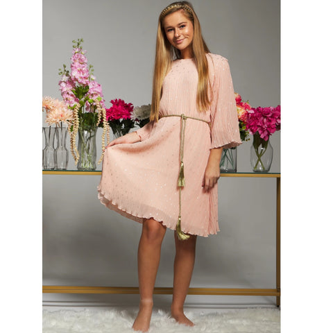 Sienna Flutter Pleate Dress: Peach (Teen) - The Mimi Boutique