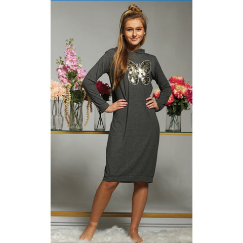 Harley Hoodie Dress: Grey (Teen) - The Mimi Boutique