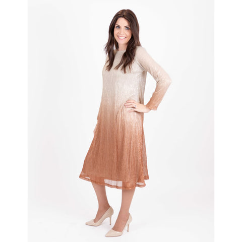 Ombre Metallic Tunic Dress: Gold