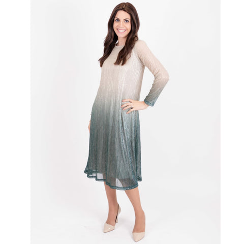 Ombre Metallic Tunic Dress: Green