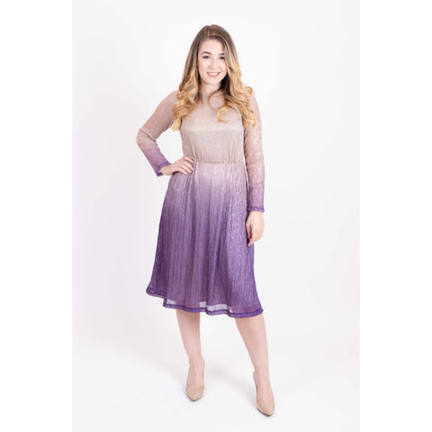 Ombre Metallic Tunic Dress: Purple
