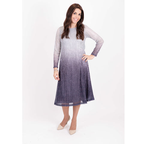 Ombre Metallic Tunic Dress: Blue
