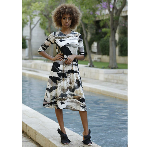Black & White Water Color Dress by DF - The Mimi Boutique