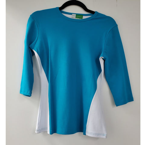Two Toned Top by Ivee: Teal/White