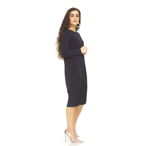 Pleated Cocoon Dress: Shimmer Navy - The Mimi Boutique