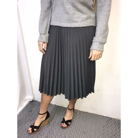 Shimmer Pleated Skirt: Silver - The Mimi Boutique