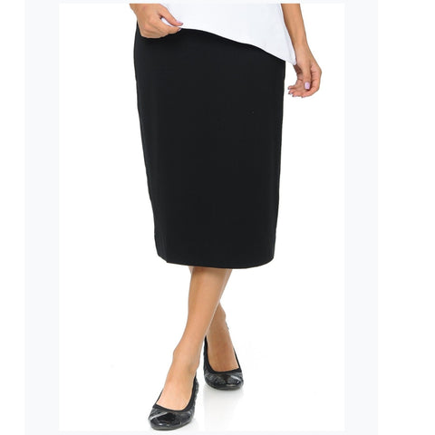 Ponti Ivee Straight Skirt: Black - The Mimi Boutique