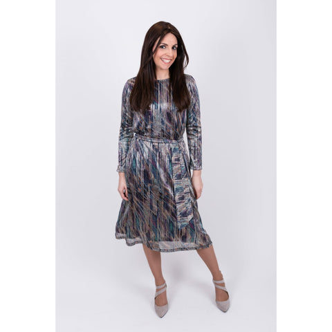 Estee Metallic Dress: Blues Multi