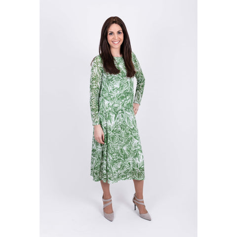 Pleated Dress: Green Ivy