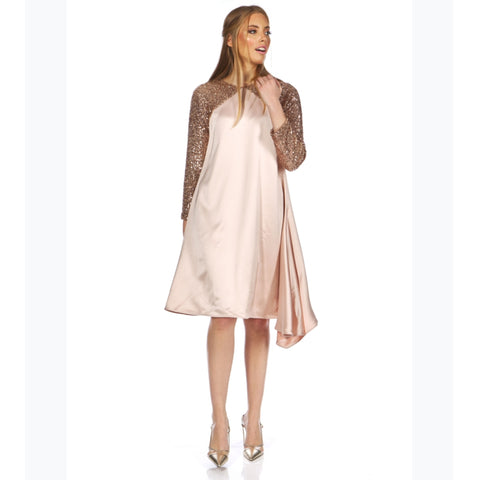Julia Sequin Dress: Blush - The Mimi Boutique