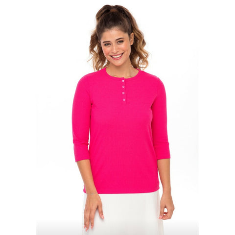 Ribbed Henley Tee: Fushia - The Mimi Boutique