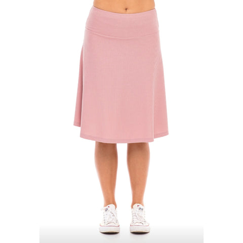 Ribbed Skye Skirt: Mauve - The Mimi Boutique