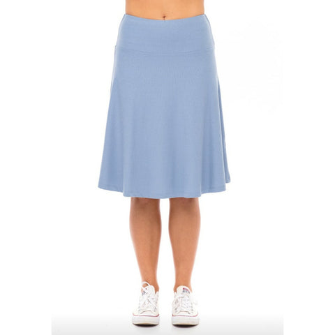 Ribbed Skye Skirt: Sky Blue - The Mimi Boutique
