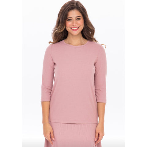 Ribbed Tee: Mauve - The Mimi Boutique