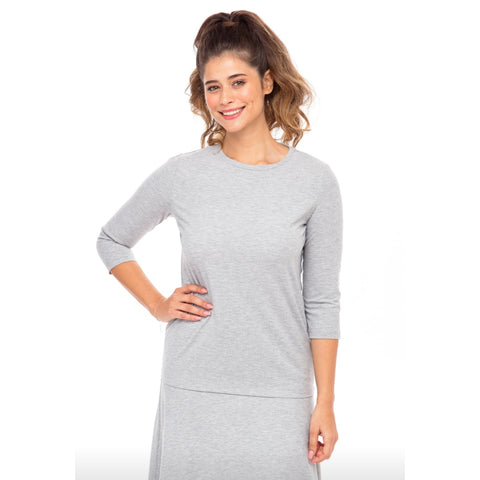 Ribbed Tee: Heather Grey - The Mimi Boutique