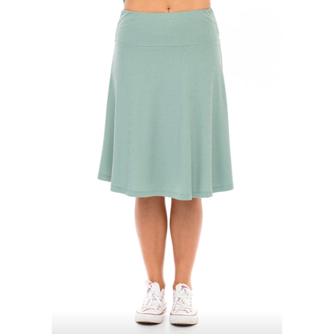 Ribbed Skye Skirt: Sea Foam Green - The Mimi Boutique