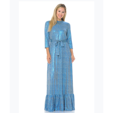 Shimmer Blue Ruffle Hem Maxi - The Mimi Boutique