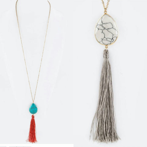 Tassel Stone Necklace - The Mimi Boutique