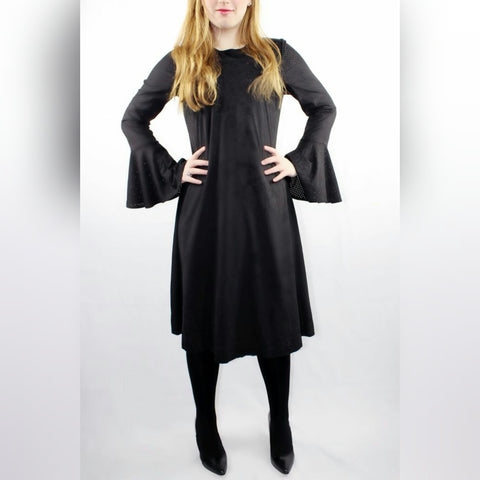 Laser Cut Suede Bell Sleeve Dress - The Mimi Boutique