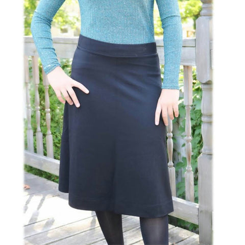 "Ponti Ivee Aline Skirt: Black 25"" - The Mimi Boutique"