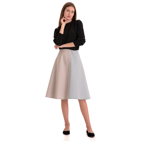 Colorblock Skirt: Light Blue/ Light Grey - The Mimi Boutique