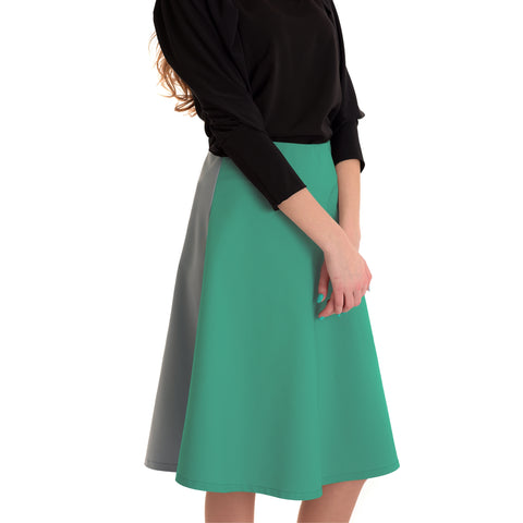 Colorblock Skirt: Green/Grey - The Mimi Boutique